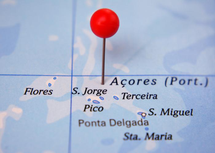 mapa de las islas azores