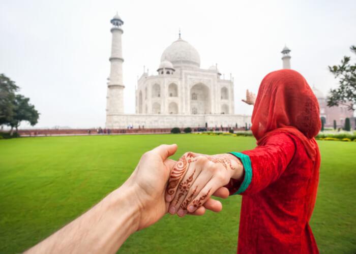 viaje de novios en taj mahal en india