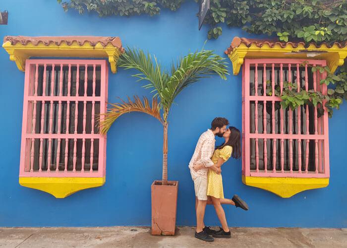 pareja de viaje romántico en Cartagena de Indias, Colombia